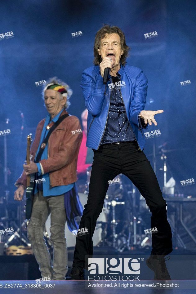 The Rolling Stones performing at The Principality Stadium, Cardiff, Wales on 15th June 2018.