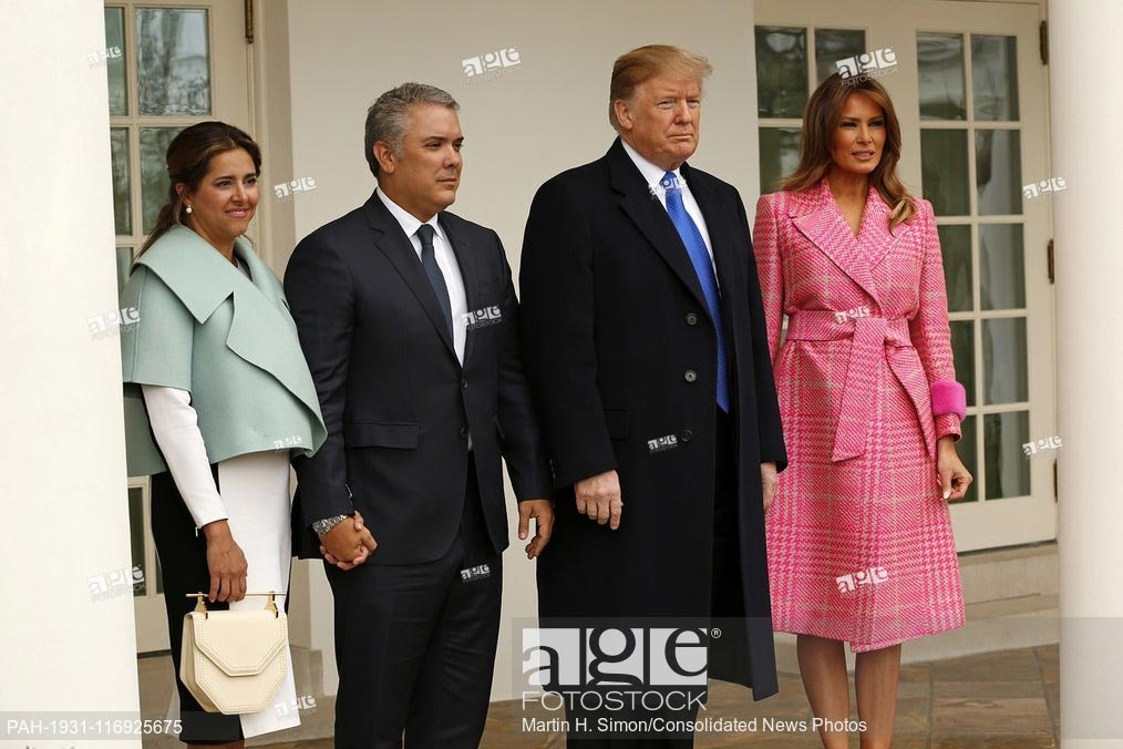 United States President Donald Trump and first lady Melania Trump, pose for a group photo with President Iván Duque of Colombia and his wife, Maria Juliana Ruiz. February 13, 2019 - White House, Washington DC.