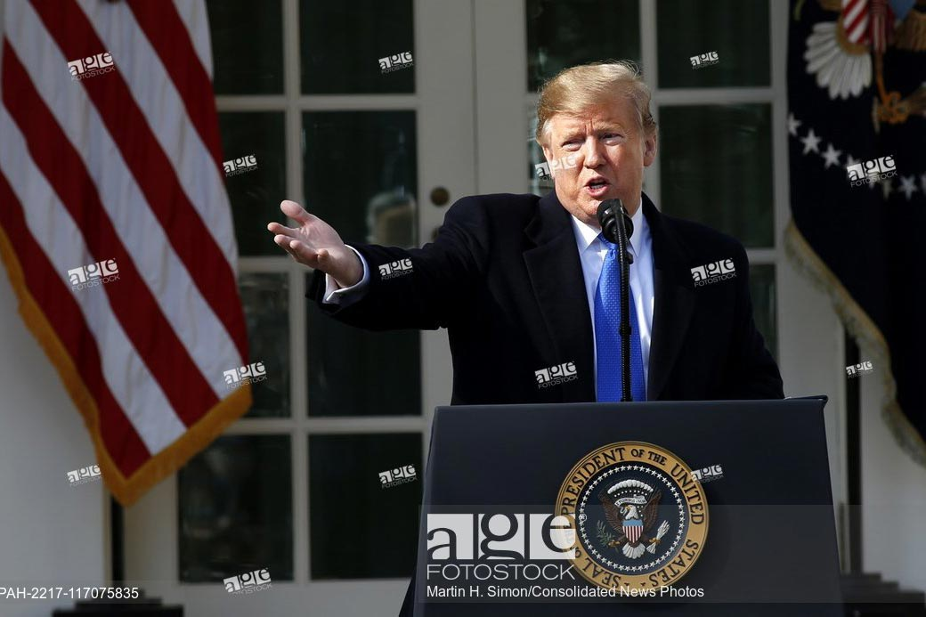 United States President Donald J. Trump makes remarks as he declares a National Emergency over the southern border and the need for border security during an appearance in the Rose Garden of the White House in Washington, DC on Friday, February 15, 2019.