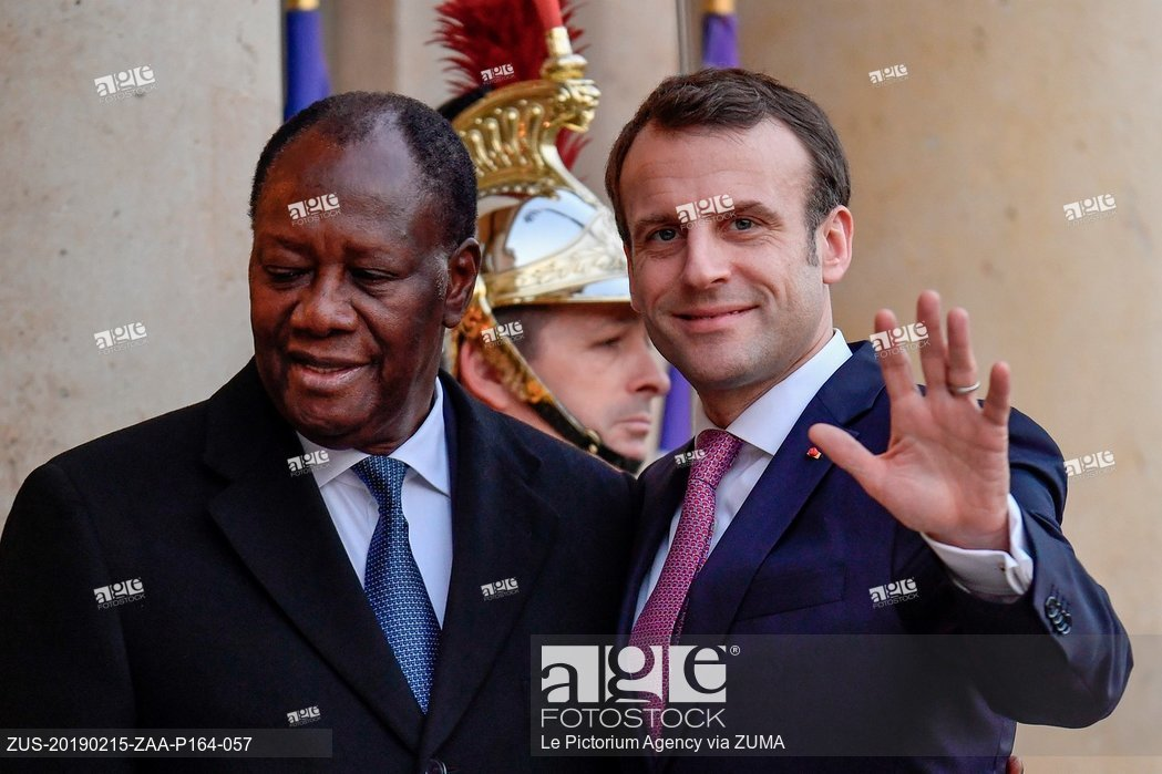 Emmanuel Macron, President of the French Republic received the Ivorian President, Alassane Ouattara at the Elysee Palace, on February 15, 2019