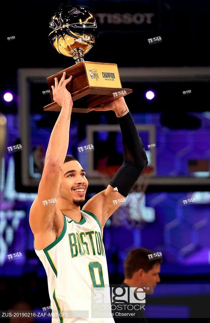 Boston Celtics forward Jayson Tatum celebrates his victory in the skills challenge during the NBA All-Star Saturday Night festivities at Spectrum Center in Charlotte, N .C., on Saturday, Feb. 16, 2019.