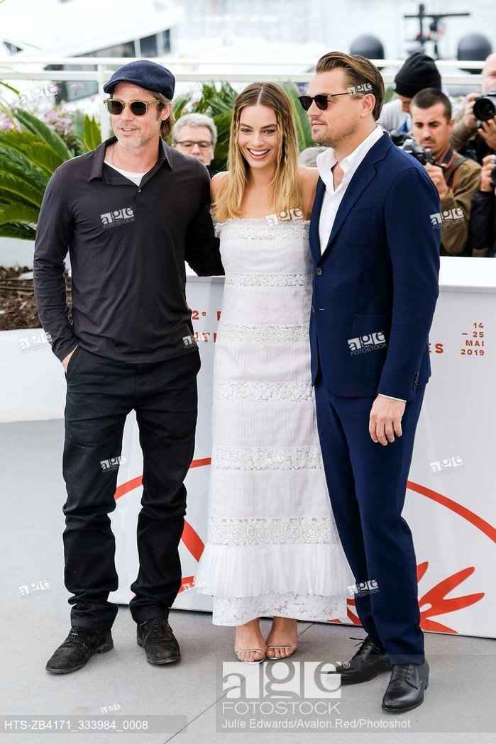 Brad Pitt, Leonardo DiCaprio, Margot Robbie, photocall for Once Upon a Time In Hollywood at the 72nd Festival de Cannes
