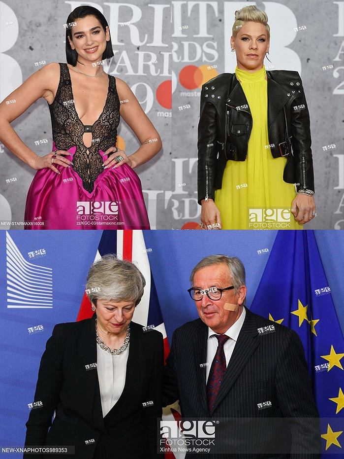 Dua Lipa and Pink at the 39th Brit Awards, where she received the Outstanding Contribution to Music Award. February 20, 2019 - London, UK. | European Commission President Jean-Claude Juncker and British Prime Minister Theresa May made fresh efforts to unlock the Brexit stalemate. February 20, 2019 - Brussels, Belgium.