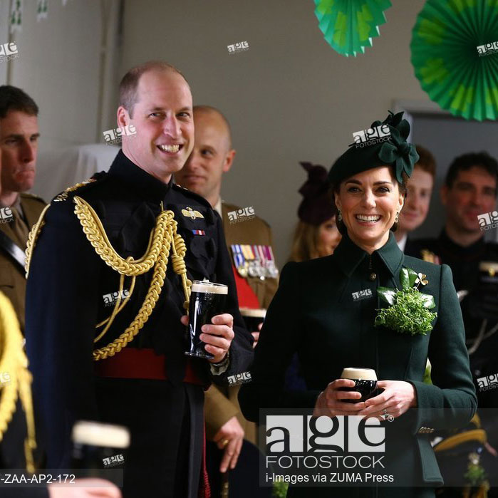 The Duke and Duchess of Cambridge at the 1st Battalion Irish Guards St Patrick's Day Parade - March 17, 2019 - London, United Kingdom