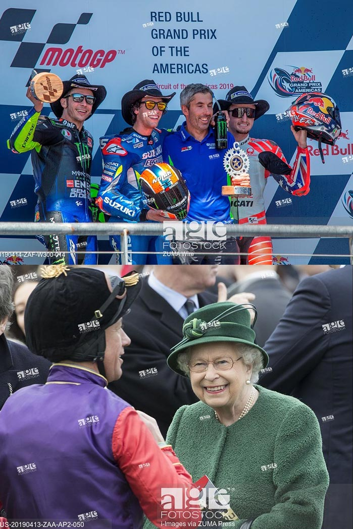 Valentino Rossi, Alex Rins and Jack Miller during the Red Bull Grand Prix of the Americas race. April 14, 2019 - Circuit of the Americas, Austin, Texas. Queen Elizabeth II at Newbury Racecourse. April 13, 2019 - Newbury, United Kingdom.