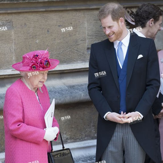 Queen Elizabeth II and Prince Harry, Duke of Sussex, during the Lady Gabriella Windsor wedding at St.George's Chapel