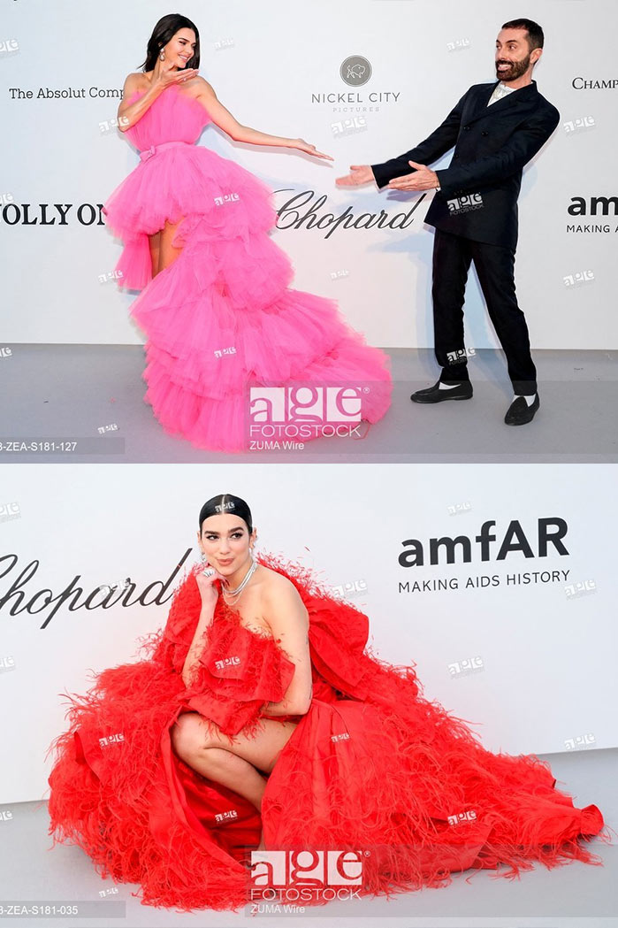 Kendall Jenner, Giambattista Valli, Dua Lipa at the amfAR Cannes Gala 2019