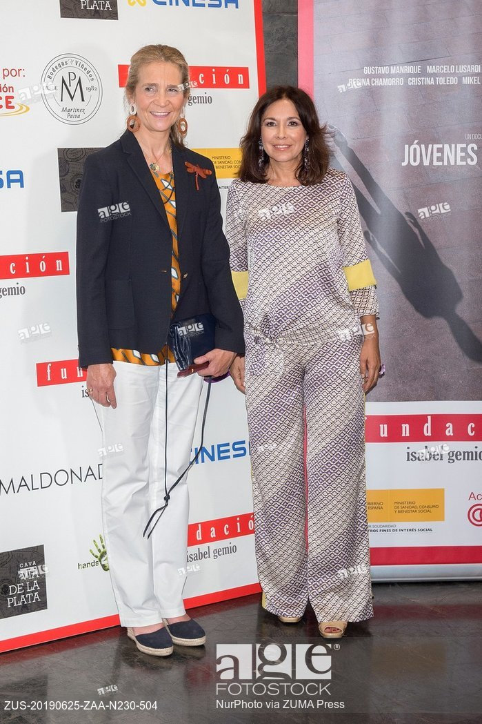 Elena de Borbón and Isabel Gemio at photocall of premiere documentary film Jovenes Invisibles in Madrid
