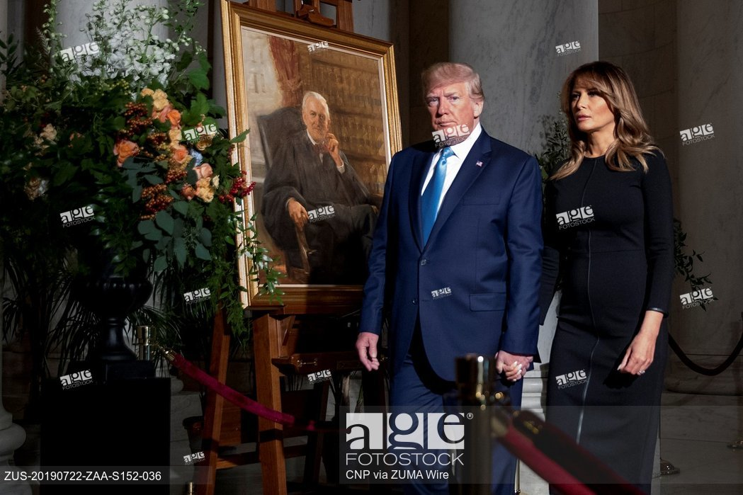 President Donald Trump and first lady Melania Trump pay respects to the late Supreme Court Justice John Paul Stevens
