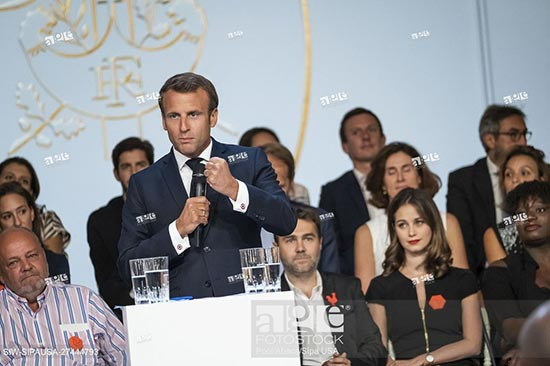 French President Emmanuel Macron delivers a speech during the European startup ecosystem event France Digitale Day 2019