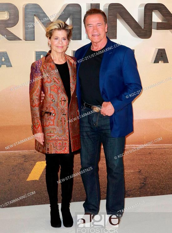 Linda Hamilton and Arnold Schwarzenegger at a photocall for Terminator: Dark Fate in London