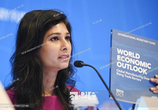 International Monetary Fund (IMF) chief economist Gita Gopinath speaks during a press conference in Washington D.C.