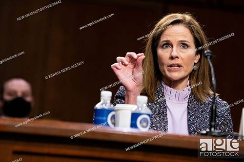 U.S. Supreme Court nominee Amy Coney Barrett attends her confirmation hearing before the Senate Judiciary Committee on Capitol Hill in Washington, D.C.