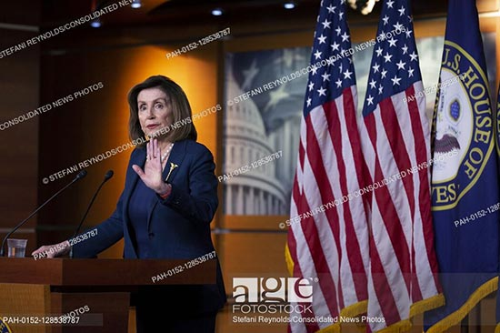 Speaker of the United States House of Representatives Nancy Pelosi delivers remarks during a press conference