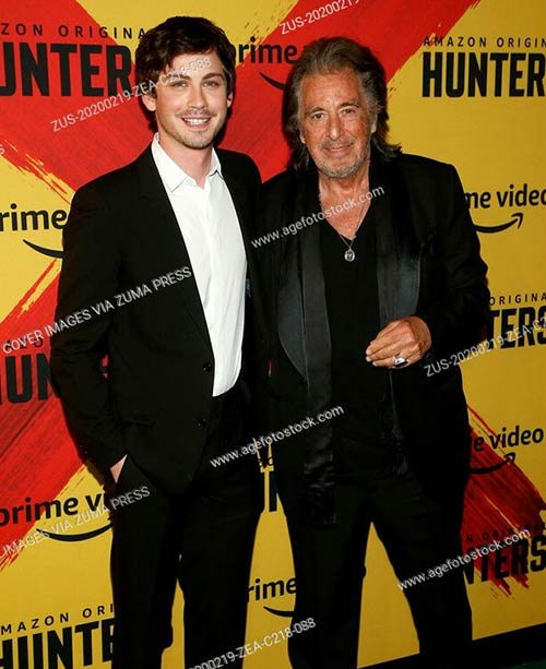 Logan Lerman and Al Pacino at the World premiere of Hunters in Los Angeles