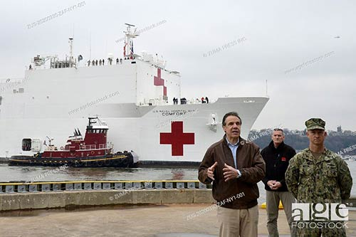 Governor Andrew Cuomo welcomes USNS Comfort to New York City as it passes Pier 88 during the novel coronavirus disease (COVID-19) outbreak