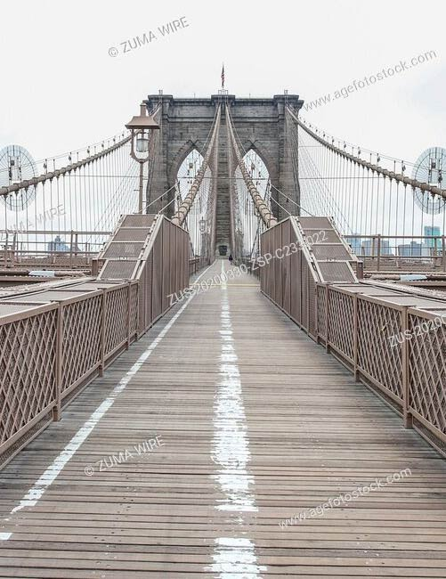 View of the empty Brooklyn Bridge during Pandemic Coronavirus Covid-19 in New York in the United States