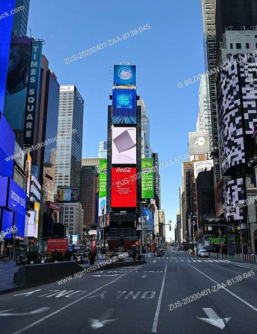 General view of an empty Times Square as the coronavirus, COVID-19, outbreak