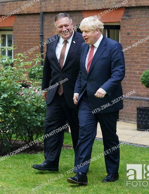British Prime Minister Boris Johnson holds a bilateral meeting with the United States Secretary of State, Mike Pompeo, in the garden of 10 Downing Street