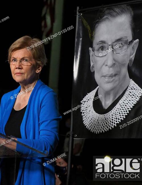 Senator Elizabeth Warren addressed the crowd of the thousands gathered in front of the US Supreme Court to honor the memory of Justice Ruth Bader Ginsburg