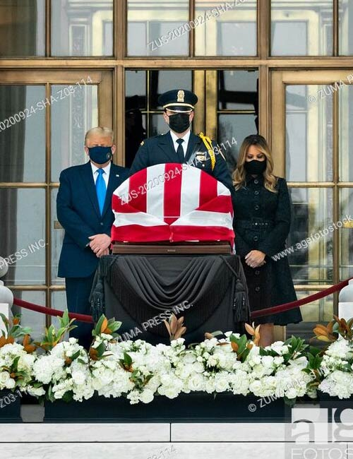 President Donald Trump and First Lady Melania Trump pay their respects to Associate Justice Ruth Bader Ginsburg as she lies in repose at the U.S. Supreme Court in Washington, D.C.
