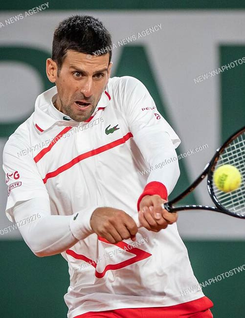 Novak Djokovic of Serbia during the men's singles first round match at French Open tennis tournament 2020, Roland Garros