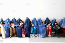 Afghan women in a hospital waiting room