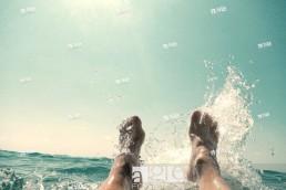 feet in the sea.