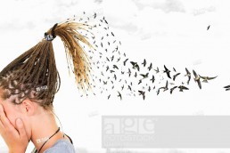 In a surreal sky, swallows come out from the braids of a girl who covers her face in front of many clouds.