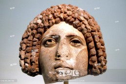 Roman head, Greece. Greek-Roman civilisation. Athens, Ethnikó Arheologikó Moussío (National Archaeological Museum)