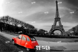 Eiffel Tower and old red car _Paris