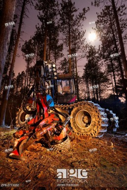 A forestry harvester truck light painted during a long exposure at night. Bendor and Graves Tract, York Regional Forest, East Gwillimbury, Ontario, Ca...