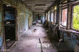 Corridor in High school No 3 in Pripyat ghost city of Chernobyl Nuclear Power Plant Zone of Alienation around nuclear reactor disaster in Ukraine.