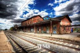 Abandoned train station. Castillejo Añover, Guadalajara. Spain