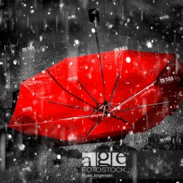 Upside down umbrella left staind to the falling rain.