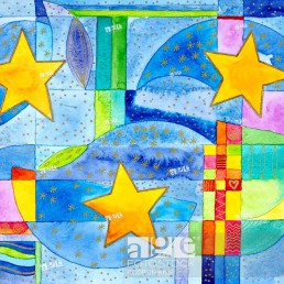 Watercolour of Heidrun Füssenhäuser, Christmas cheer, three stars in three spheres