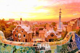 Parc Güell. Garden complex with architectural elements situated on the hill of el Carmel.