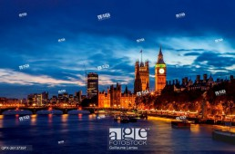 London cityscape with Big Ben and Palace of Westminster, England, UK