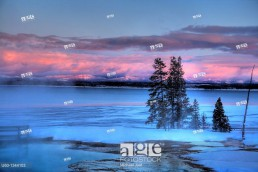 Yellowstone Lake as seen in the winter from the West Thumb Geyser Basin at Yellowstone National Park, Wyoming