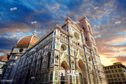 Facade of the the Gothic-Renaissance Duomo of Florence, Basilica of Saint Mary of the Flower, Firenza Basilica di Santa Maria del Fiore built between 1293 & 1436 Italy