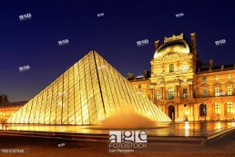The Louvre at Night, Paris, France.