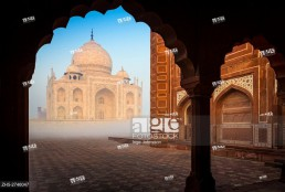 The Taj Mahal is a white marble mausoleum located in Agra, Uttar Pradesh, India. It was built by Mughal emperor Shah Jahan in memory of his third wife