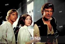 Studio Publicity Still of Harrison Ford, Carrie Fisher and Mark Hamill in Star Wars 1977 20th Century Fox