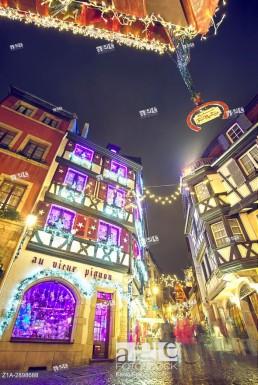 Christmas decoration at the city center. Colmar. Haut-Rhin. Alsace. France.