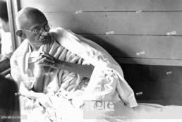 Mahatma Gandhi in a train during his Harijan Tour in Gujarat, India, July 1934