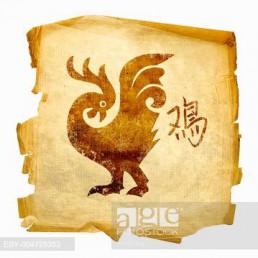Cock Zodiac icon, isolated on white background.