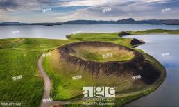 Skutustadagigar pseudo craters, Lake Myvatn, Northern Iceland. . Drone photography.