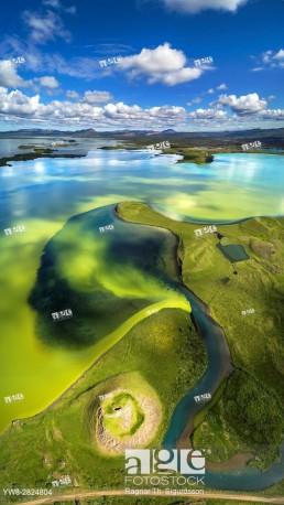 Aerial view of Skutustadagigar Pseudocrater, Lake Myvatn, Iceland.