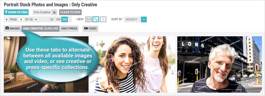 Use these tabs to alternate between all available images and video, or see creative or press-specific collections.