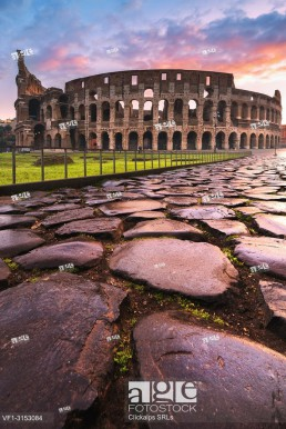 Rome, Lazio, Italy. Colosseum at winter sunrise.